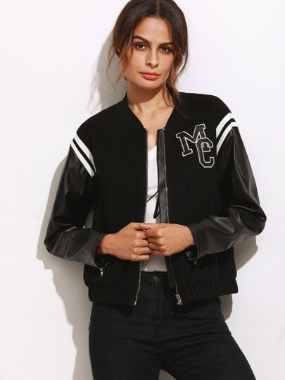 Black Letter Patch Mixed Media Bomber Jacket