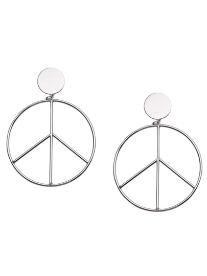 Silver Plated Peace Sign Drop Earrings