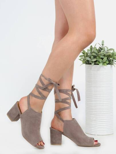 Wrap Suede Block Heels TAUPE
