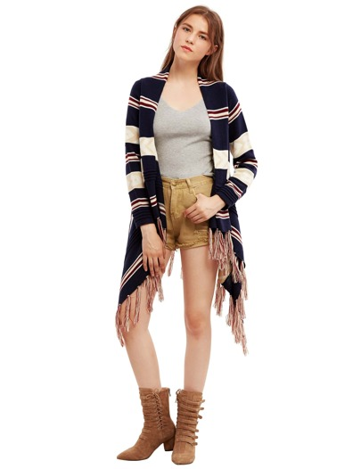 Multicolor Striped Tassel Hem Sweater