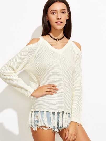 White Cold Shoulder Tassel Trim Ribbed Sweater