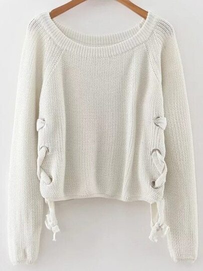 White Eyelet Lace Up Loose Sweater
