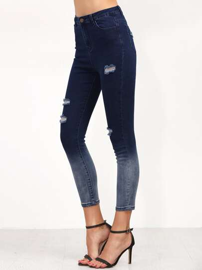 Navy Ombre Ripped Skinny Ankle Jeans