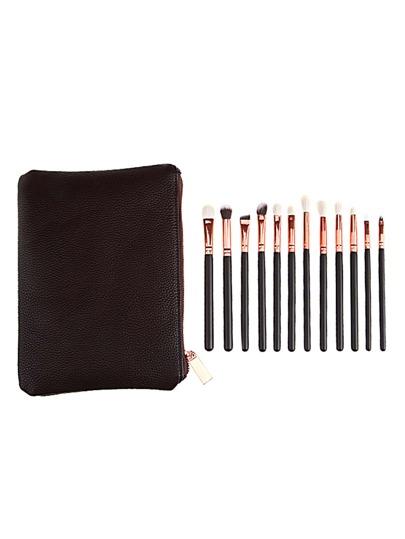 12PCS Black Professional Makeup Brush Set With Bag
