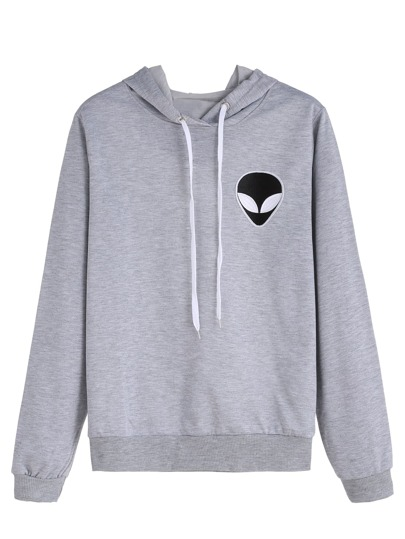 Grey Alien Embroidered Hooded Sweatshirt