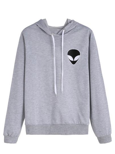 Sweat-shirt à capuche avec broderie - gris