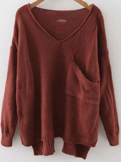 Brown V Neck Drop Shoulder Dip Hem Sweater With Pocket