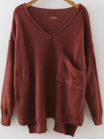 Drop Shoulder Dip Hem Pullover Sweater With Pocket