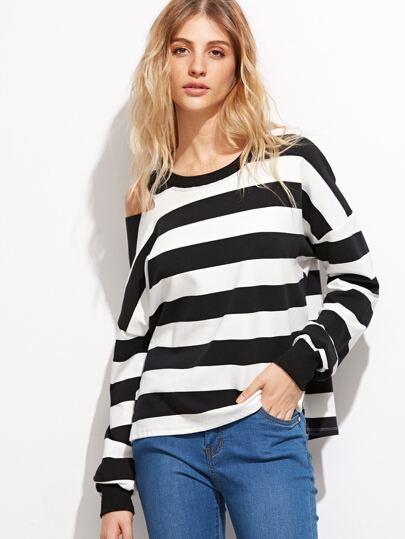 Black White Stripe Cut Out Sweatshirt