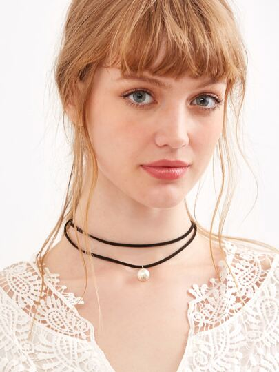 Black Faux Pearl Pendant Layered Choker