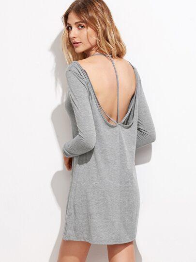Grey Cold Shoulder V Back Tee Dress