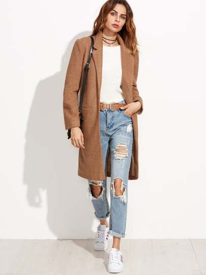 Khaki Lapel False Pocket Long Coat