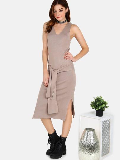 Tieable Waist Rib Knit Midi Dress TAUPE