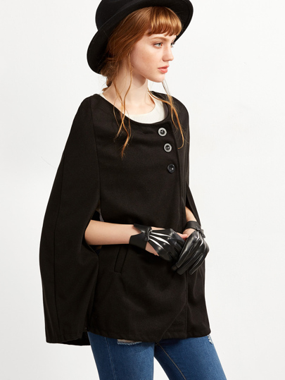 Black Single Breasted Cape Coat