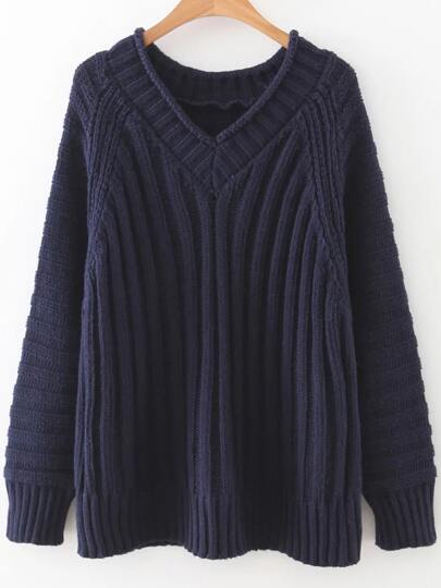 Navy V Neck Raglan Sleeve Sweater