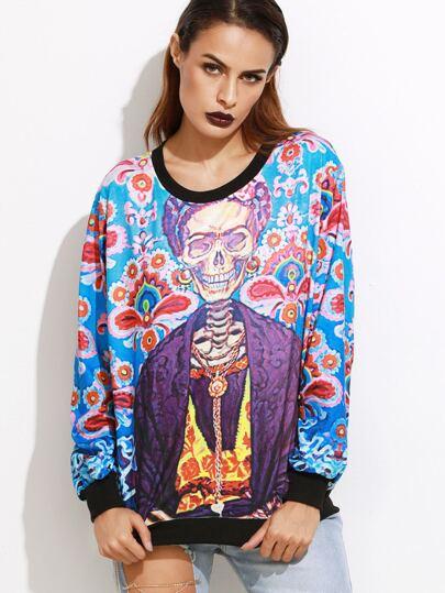 Multicolor Skull Print Elastic Cuff Sweatshirt
