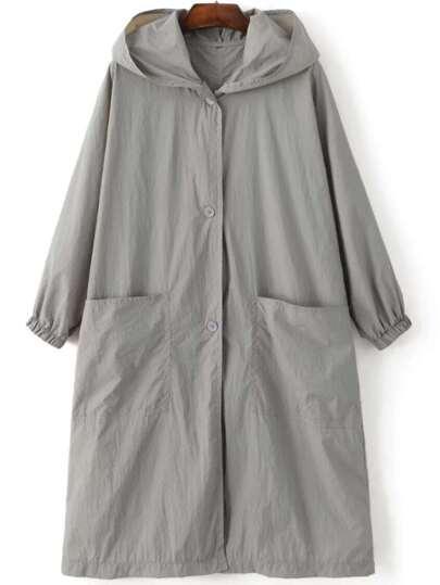 Grey Letter Embroidery Slit Hooded Coat