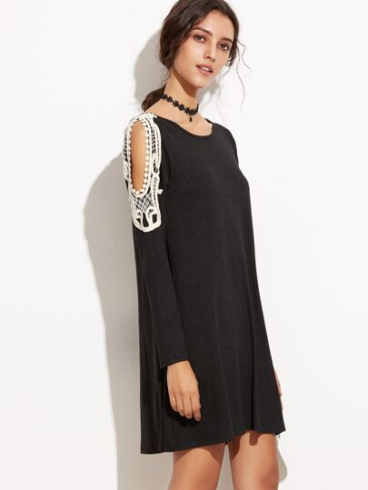 Black Open Shoulder Crochet Trim Tee Dress