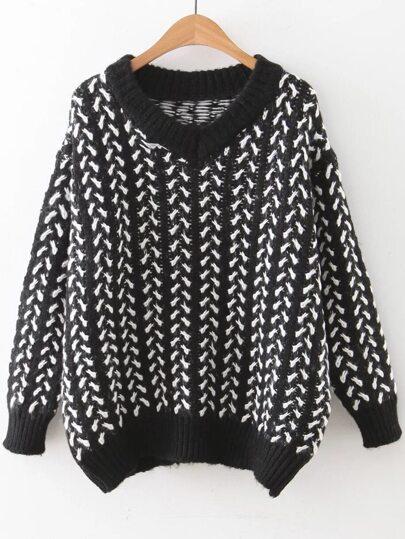 Black V Neck Ribbed Trim Loose Sweater