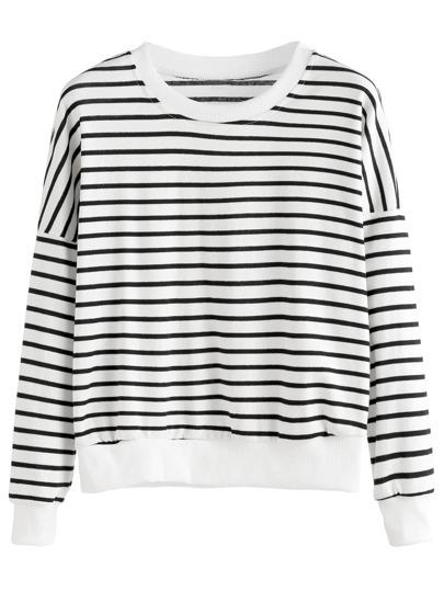 Black White Striped Drop Shoulder Sweatshirt