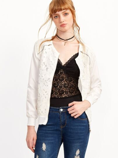 White Crochet Overlay Zipper Jacket