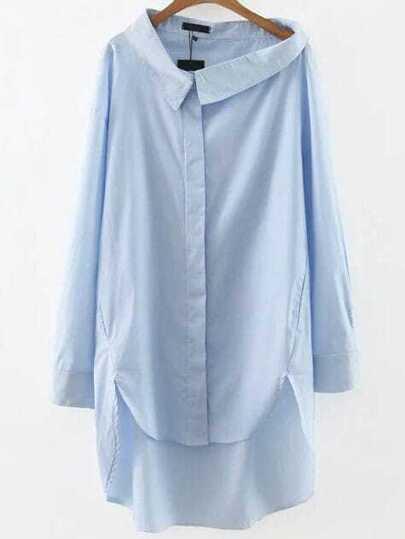 Blue Vertical Striped Hidden Button High Low Dress