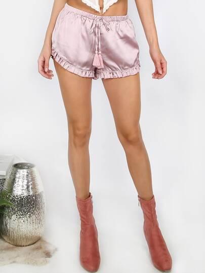 Pale Purple Tassel Tie Waist Ruffle Shorts