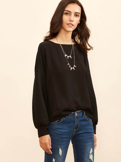 Black Dropped Shoulder Seam Sweatshirt