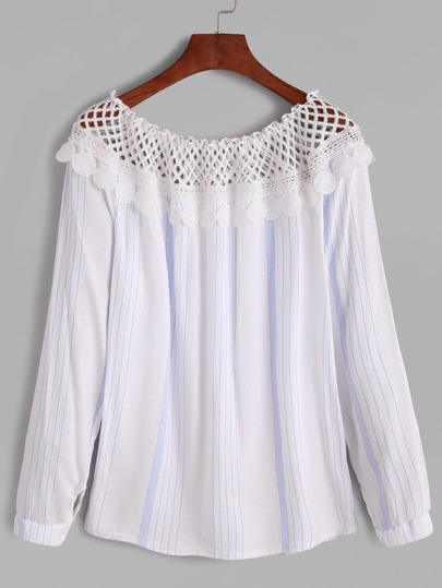 Vertical Striped Contrast Lace Crochet Blouse