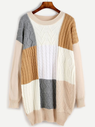 Color Block Cable Knit Long Sweater