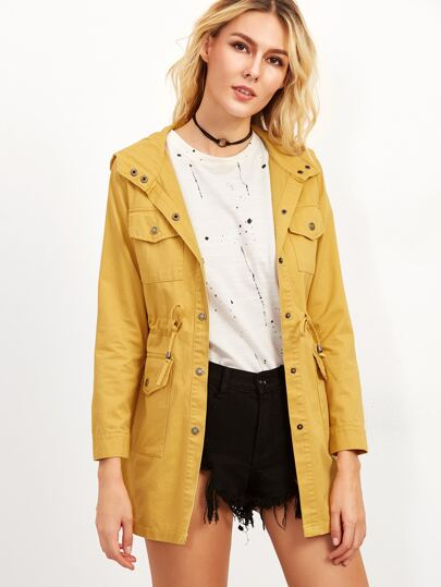 Yellow Single Breasted Drawstring Hooded Coat