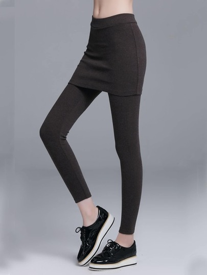 Brown Elastic Waist 2 In 1 Leggings