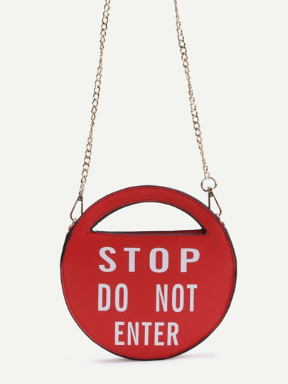 Stop Red PU Round Shaped Crossbody Chain Bag