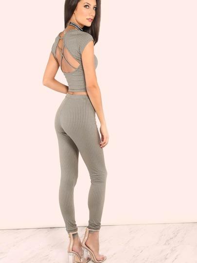 Ribbed Short Sleeve Crossback Top & Skinny Ribbed Pants OLIVE