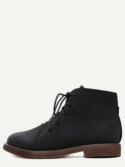 Black Distressed PU Lace Up Oxford Boots