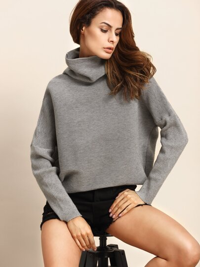 Grey Cowl Neck Drop Shoulder Ribbed Sweater