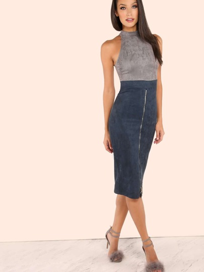 High Mock Neck Sueded Zip Slit Dress GREY NAVY