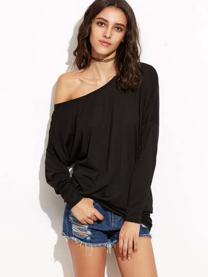 Black Asymmetric Knit T-shirt