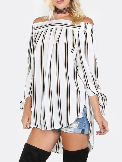 Off The Shoulder Stripe Top IVORY