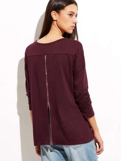 Burgundy Drop Shoulder Zip Back T-shirt