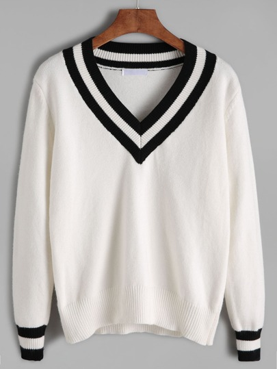 White Contrast Striped Trim Sweater