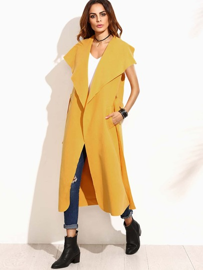 Yellow Drape Collar Sleeveless Wrap Coat
