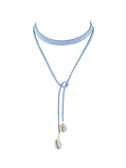 Blue Braided Pu Leather Chain Choker Necklace With Shell