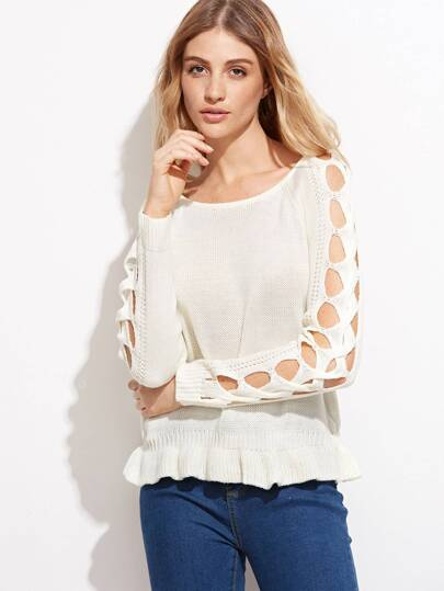 Beige Hollow Out Ruffle Trim Sweater