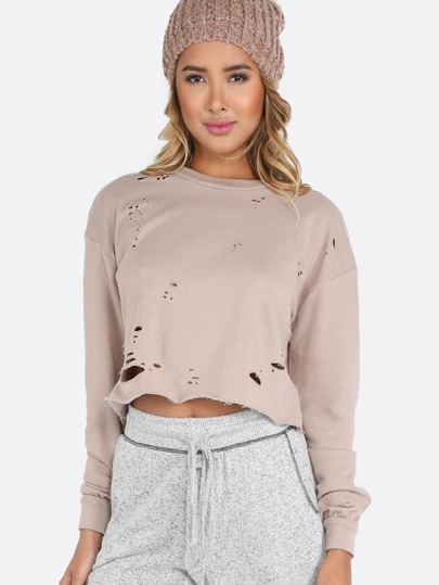 Distressed Cropped Pullover PINK