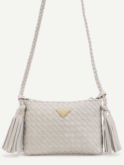 Light Grey Woven PU Tassel Trim Crossbody Bag