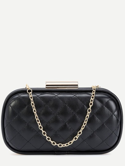 Black Quilted PU Evening Bag