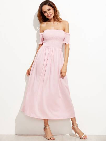 Pink Off The Shoulder Shirred Dress