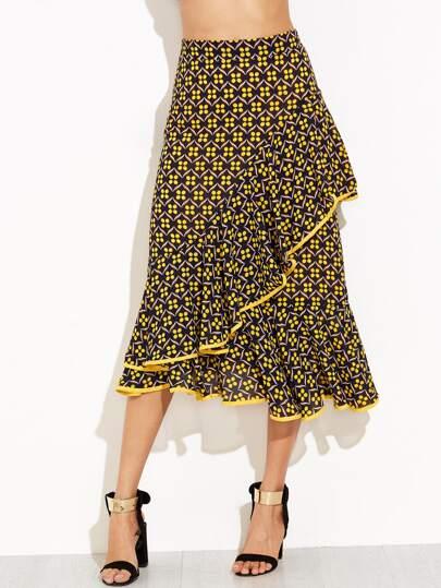 Модная асимметричная юбка с цветочным принтом с воланами