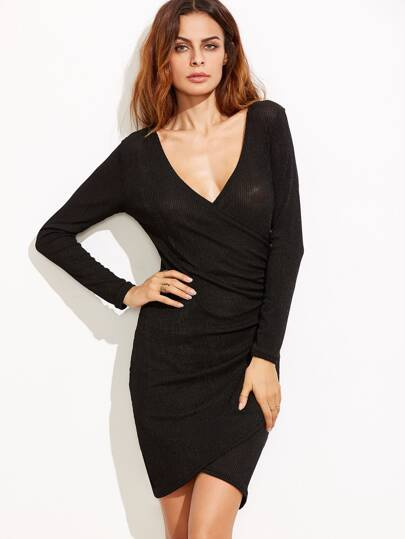 Black Deep V Neck Ribbed Semi Sheer Wrap Dress